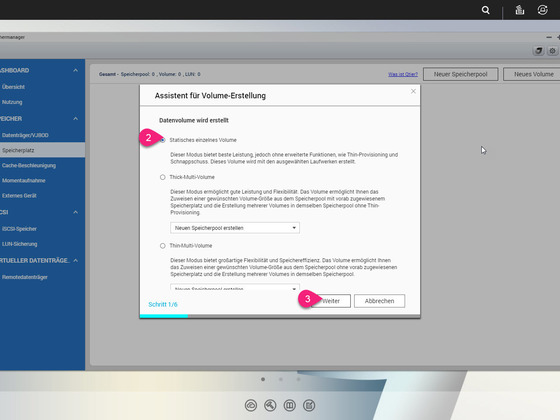2 - Speichermanager - Assistent für Volumen Erstellung