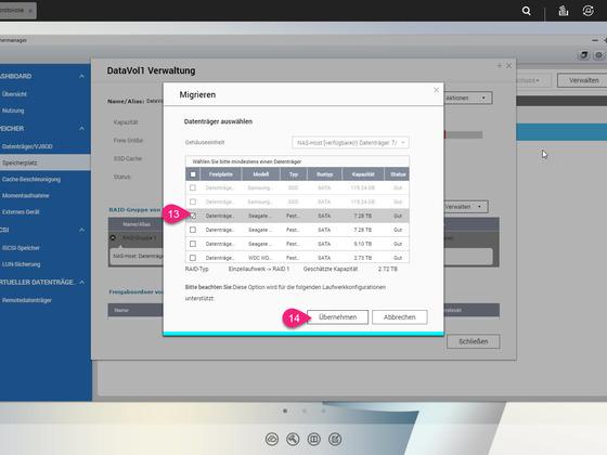 9 - Speichermanager - Neue Festplatte (8TB) auswählen