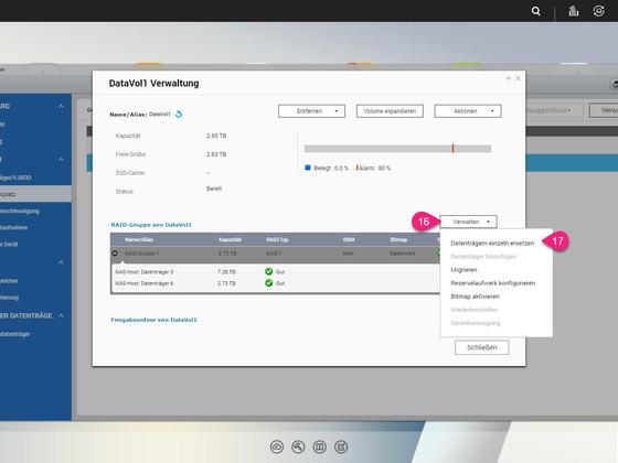 12 - Speichermanager - Aktualisierung 1. HDD mit 8 TB abgeschlossen