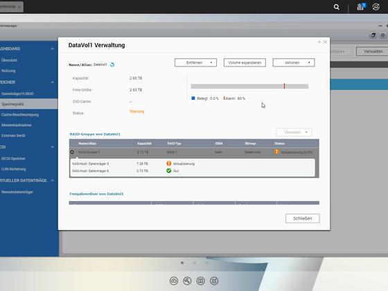 Anleitung QNAP statisches Einzelvolumen mit 3 TB auf Raid 1 mit 2 x 8 TB erweitern